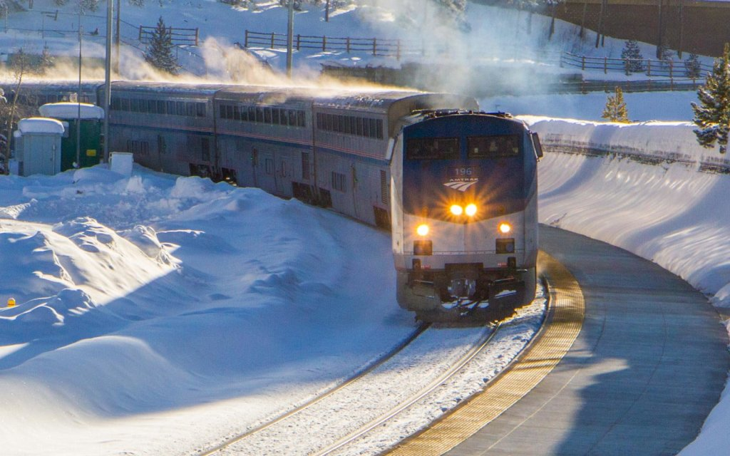 Amtrak Winter Train Stuck in the snow