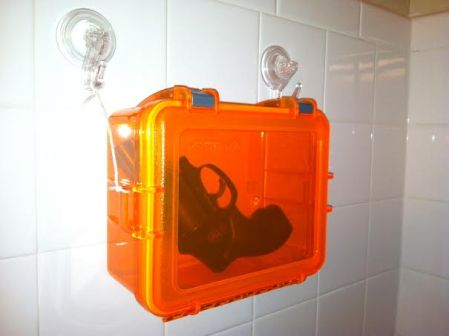 Do it yourself shower gun box for less than $15.00. Never get caught in the shower without what you need to get the job done again!